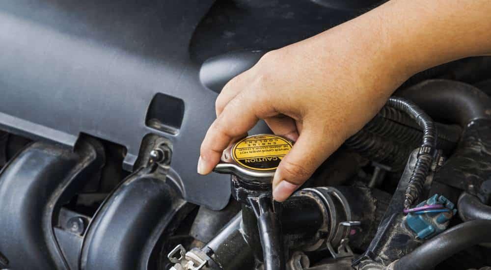 person turning car radiator cap