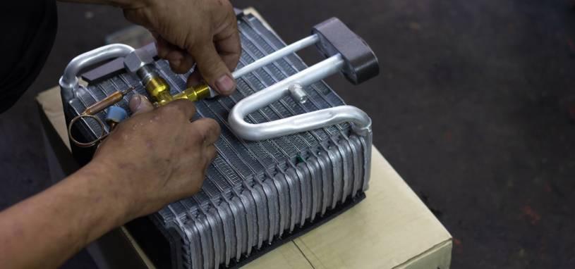 Car air conditioner evaporator coil close up